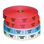 Generations Consumer Admit-One Ticket Multi-Pack, 4 Rolls, 2 Red, 1 Blue, 1 White