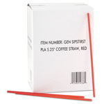 General Coffee Stirrers, Red/White, Plastic, 5 1/4""