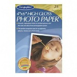 "Geographics Inkjet Photo Paper, High Gloss, 4""x6"", 25/Pack, Bright White"