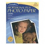 "Geographics Inkjet Photo Paper, Plus Satin, 8-1/2"" x 11"", 25/Pack, Bright White"