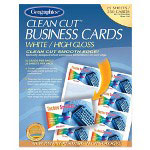 Geographics Business Cards, 65 lb., 3 1/2 x 2, White High Gloss, 250 Cards/Pack
