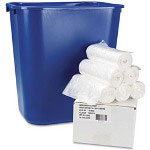 Whitehall High Density Clear Flat-Bottom Trash Bags, 6 Micron, Case of 300