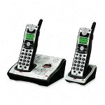 GE Black/Silver 5.8GHz Cordless Phone System with 2 Handsets