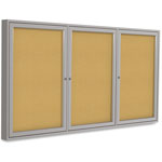 Ghent MFG Enclosed Bulletin Board, 3-Dr, 4' x 6', Satin Aluminum