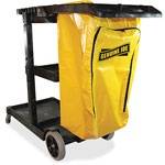 "Genuine Joe Janitors Cart, 30-3/4"" x 55-5/8"" x 38"", Lt Gray/Yellow"