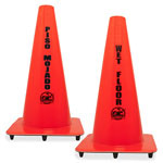 "Genuine Joe Bilingual Wet Floor Cones, 10 1/2"" x 18"", Vinyl, Orange"