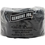 "Genuine Joe Disposable 9"" Plastic Plates, Black, Pack of 125"