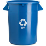 Genuine Joe Trash Container, Heavy-duty, 32 Gallon, Blue