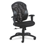 Global Tye™ Series Mid Back Swivel Task Chair, Black Mesh Fabric