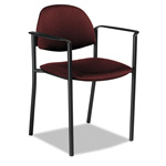 Global Comet Series Stacking Arm Chair, Burgundy Polypropylene Fabric, 3/Carton
