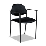 Global Comet Series Stacking Arm Chair, Black Polypropylene Fabric, 3/Carton
