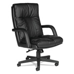 Global Troy Series Leather High Back Swivel/Tilt Chair with Arms, Black