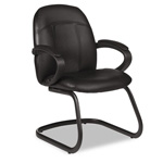 Global Tamiri Series Black Leather Armchair, 25 x 26-1/2 x 37, Black Frame