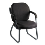 Global Commerce Series Guest Arm Chair, Sled Base, Black Fabric