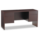 Global Genoa Series Kneespace Credenza, 60w x 20d x 29h, Dark Espresso Frame/Top