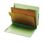Globe Weis Pressboard End Tab Classification Folders, 6 Sections, Letter, Green, 10/Box