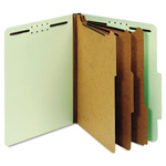 Globe Weis Pressboard Classification Folders, 8 Fasteners, 2/5 Cut, Letter, Green, 10/Box