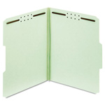"Globe Weis Pressboard Folders, 3"" Expansion, 2 Fasteners, 1/3 Cut, Letter, Green, 25/Box"