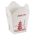 Golden West Paper Microwavable Food Box, 26 Oz, White, Pagoda Print