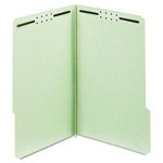 "Globe Weis Pressboard Folders, 2"" Expansion, 2 Fasteners, 1/3 Cut Tab, Legal, Green, 25/Box"