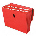 Cardinal expanding file with velcro closure, 13 pockets, letter, red
