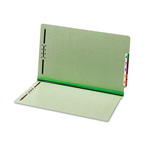 "Globe Weis End Tab Pressboard Folders, 2 Fasteners, 2"" Expansion, Legal, Green, 25/Box"
