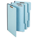 "Globe Weis Pressboard Folders, 2"" Expansion, 2 Fasteners, 1/3 Cut, Lgl, Light Blue, 25/Box"