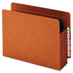 "Globe Weis Heavy-Duty Expanding File Pocket, End Tab, 3 1/2"", Letter, Brown, 10/Box"