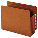 "Globe Weis Heavy-Duty Expanding File Pocket, End Tab, 5 1/4"", Letter, Brown, 10/Box"