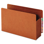 "Globe Weis Heavy-Duty Expanding File Pocket, End Tab, 5 1/4"", Legal, Brown, 10/Box"