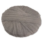 "Global Material Radial Steel Wool Pads, Grade 1 (Med): Cleaning & Dry Scrubbing, 19"" Gray, 12/CT"
