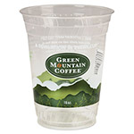 Green Mountain Cold Cups, 16-18 oz, Plastic, Clear/Green