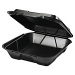 Genpak 1 Compartment Foam Hinged Container, Black