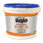 Gojo FAST WIPES Hand Cleaning Towels, Cloth, 9 x 10, White 225/Bucket