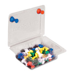"Gem Push Pin Caddy With 40 Push Pins, 2""x3 1/4""x1 1/2"", AST"