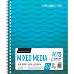 "Grumbacher Mixed Media Notebook, Acid-Free, 50-Sheet, 90 lb., 9"" x 12"", White"