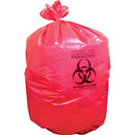 "Heritage Bag Biohazard Can Liners, 1.3mil, 37"" x 50"", 150BG/BX, Red"