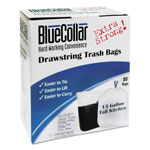 BlueCollar Drawstring Trash Bags, 13gal, 0.8mil, 24 x 28, White, 80/Box, 6 Boxes/Carton