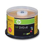 HP DVD+R, Branded, 16x, 4.7GB, 50/Pack, Silver