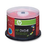 HP DVD-R, Branded, 16x, 4.7GB, 50/Pack, Silver
