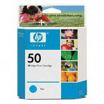 HP 50 Cyan Ink Cartridge ,Model 51650C ,Page Yield 17000