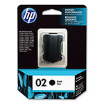 HP 02 Black Inkjet Cartridge, Model C8721WN, 660PGS Page Yield