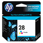 HP 28 Cyan / Magenta / Yellow Inkjet Cartridge, Model C8728AN, 190PGS Page Yield