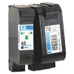 HP 45 Black and Cyan/Magenta/Yellow Ink Cartridge ,Model C8788FN ,Page Yield 2450