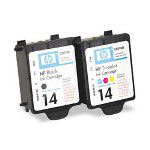 HP 14 Black and Cyan/Magenta/Yellow Ink Cartridge ,Model C9337FN ,Page Yield 800