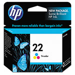 HP 22 Cyan / Magenta / Yellow Inkjet Cartridge, Model C9352AN, 165PGS Page Yield