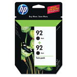 HP No. 92A Ink Cartridge for Deskjet/Photosmart, 2/Pack, Black