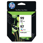 HP 99 Black and Cyan/Magenta/Yellow Ink Cartridge, Model C9517FN, Page Yield 220