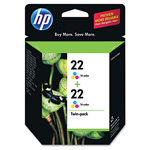 HP 22 Cyan/Magenta/Yellow Ink Cartridge, Model CC580FN, Page Yield 2x165
