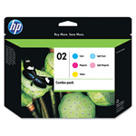 HP 02 Cyan / Magenta / Yellow Inkjet Cartridge, Model CC604FN, 350PGS Page Yield